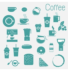 Coffee cup set tea cup icon collection vector