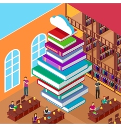 Isometric library stack books concept knowledge vector