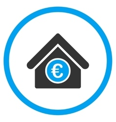 Euro financial center rounded icon vector