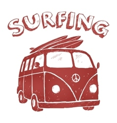 Surf van  t-shirt graphics vector