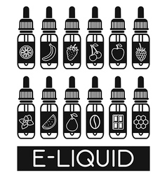 Icons of e-liquid vector