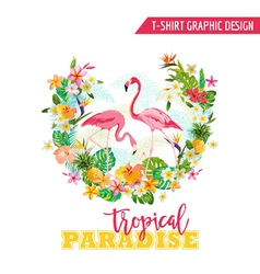 Flamingo and tropical flowers - for t-shirt vector