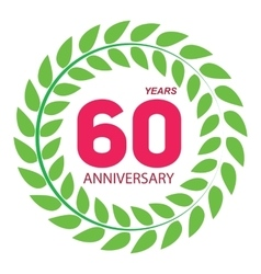 Template logo 60 anniversary in laurel wreath vector