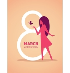 8th march design with girl silhouette vector