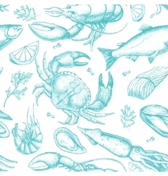 Hand drawn seafood pattern vector