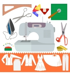 Collection of sewing items with clothes sihiouette vector