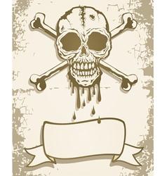 Skull scroll vector image