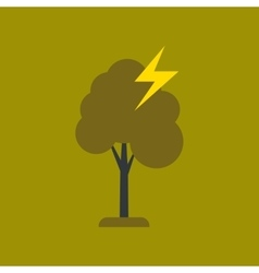 Flat icon on stylish background lightning tree vector