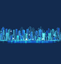 Abstract city scene on night time cityscape vector