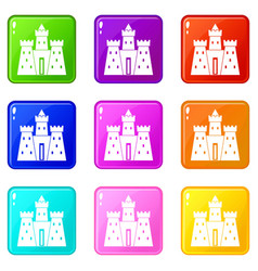 Ancient castle palace icons 9 set vector