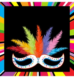 Black mask with colored feathers vector image