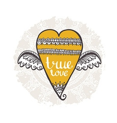 Boho style background Heart with wings True love vector image