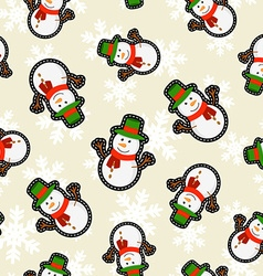 Christmas snowman patch icon pattern background vector image vector image
