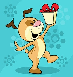 Dog carries gift - cheerful vector