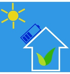 Eco house with solar battery vector image vector image