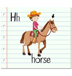 Flashcard letter h is for horse vector