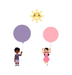 flat children with air balloons set vector image