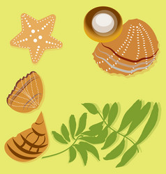 flat palm leaves and beach seashells on the yellow vector image