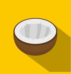 Half of coconut icon flat style vector