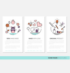 hand made business brochure sewing linear vector image vector image