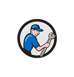 Handyman holding spanner circle cartoon vector