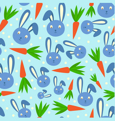 happy adorable rabbit cartoon character face head vector image