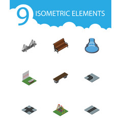 Isometric city set of intersection bridge bench vector