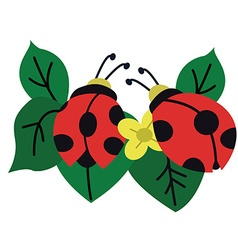 Ladybug Garden with leafs and flower vector image vector image