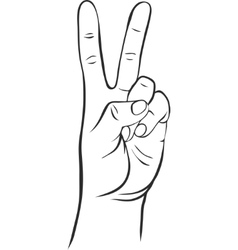 line drawing hand with two fingers vector image vector image