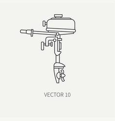 Line flat fisher and camping icon outboard vector