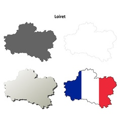 Loiret centre outline map set vector
