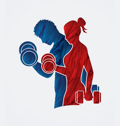 Man and woman exercise with dumbbell vector