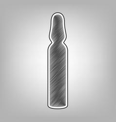Medical ampoule sign pencil sketch vector