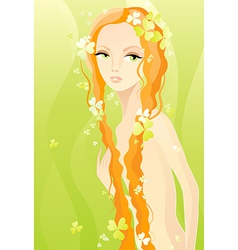 Naked girl on green vector