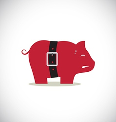 Pink pig piggy bank with tight belt vector