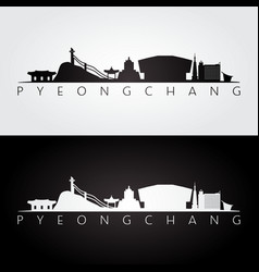 Pyeongchang skyline and landmarks silhouette vector