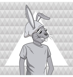 Rabbit animal hipster style triangule background vector