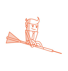Red silhouette image executive man riding an arrow vector