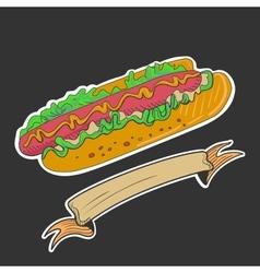 Retro hotdog emblem vector