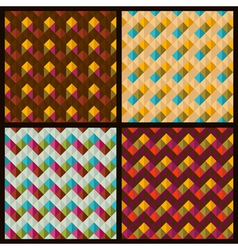 set of patterns with rhombuses and zigzags vector image vector image