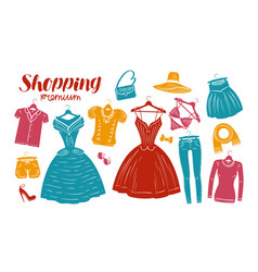 shopping fashion clothes shop boutique banner vector image vector image