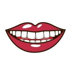 Silhouette smiling lips with teeths and tongue vector