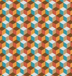 Vintage cube flat color background vector image