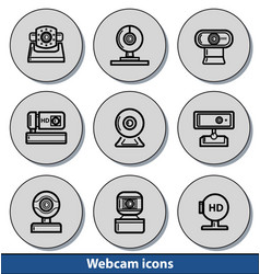 webcam light icons vector image