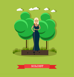 woman singer in flat style vector image