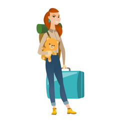 Woman traveling with old suitcase and teddy bear vector