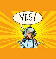 yes winner astronaut woman vector image