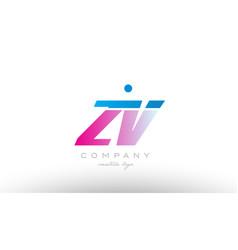 zv z v alphabet letter combination pink blue bold vector image vector image