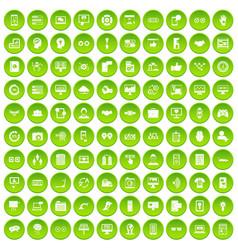 100 interface icons set green circle vector