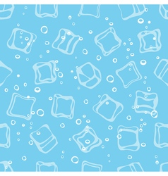 Ice cube babbles and water blue textile print vector